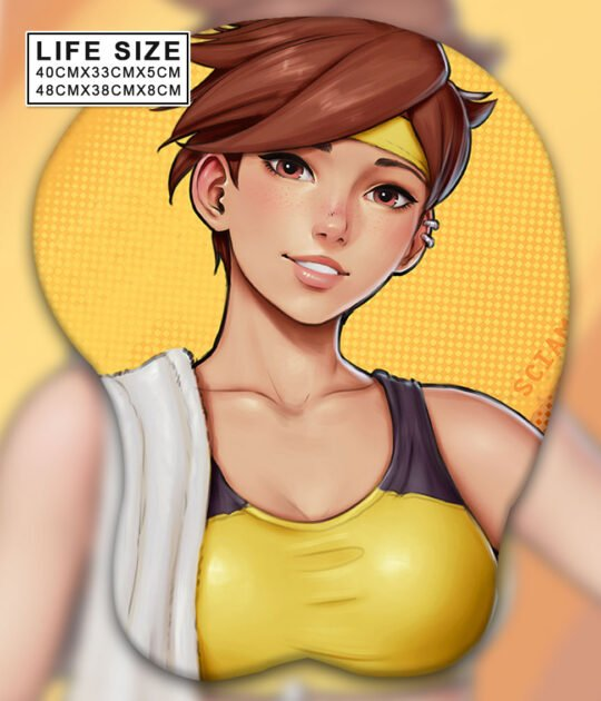Tracer Life Size Oppai Mousepad